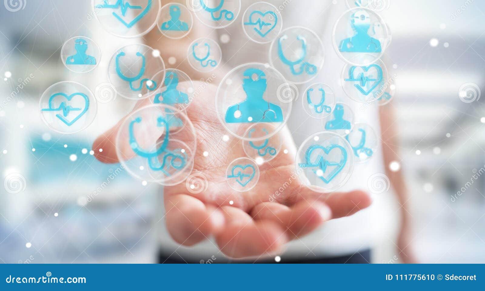 Businessman using modern medical interface 3D rendering