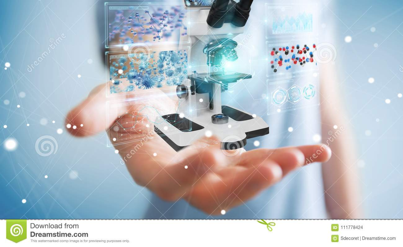 Businessman using modern microscope with digital analysis 3D rendering