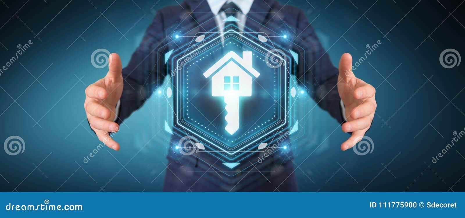 Businessman using real estate digital interface 3D rendering