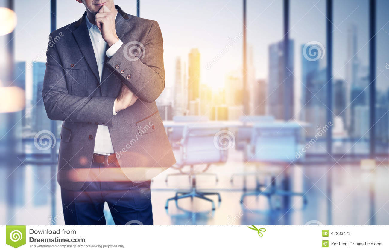 Businessman On Blurred Office Background Stock Photo Image Of
