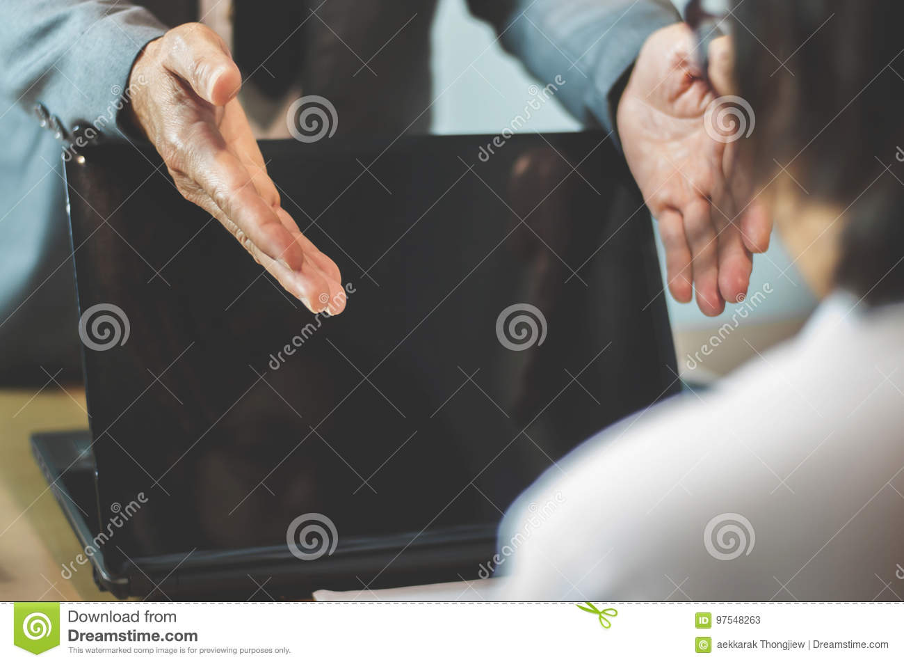Businessman or boss complain to Businesswoman or employee at off