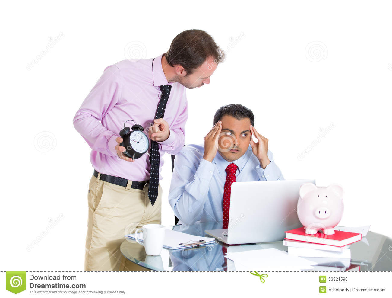 businessman boss having an argument his employee over a businessman boss having an argument his employee over a project he is working hard on being pressured by lack of time stock photo 33321590 megapixl