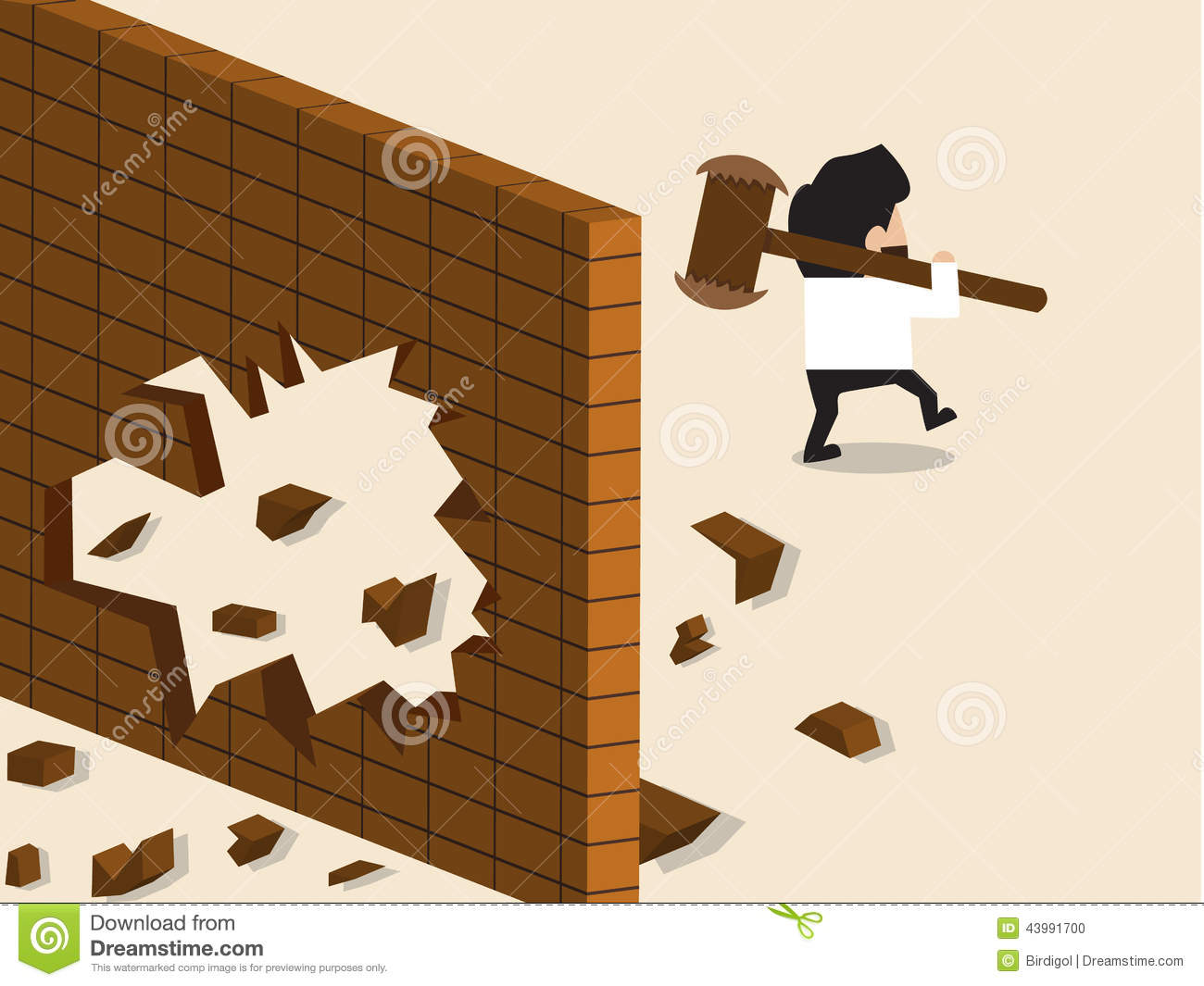 Businessman Break A Wall And Walk Apart Stock Photo