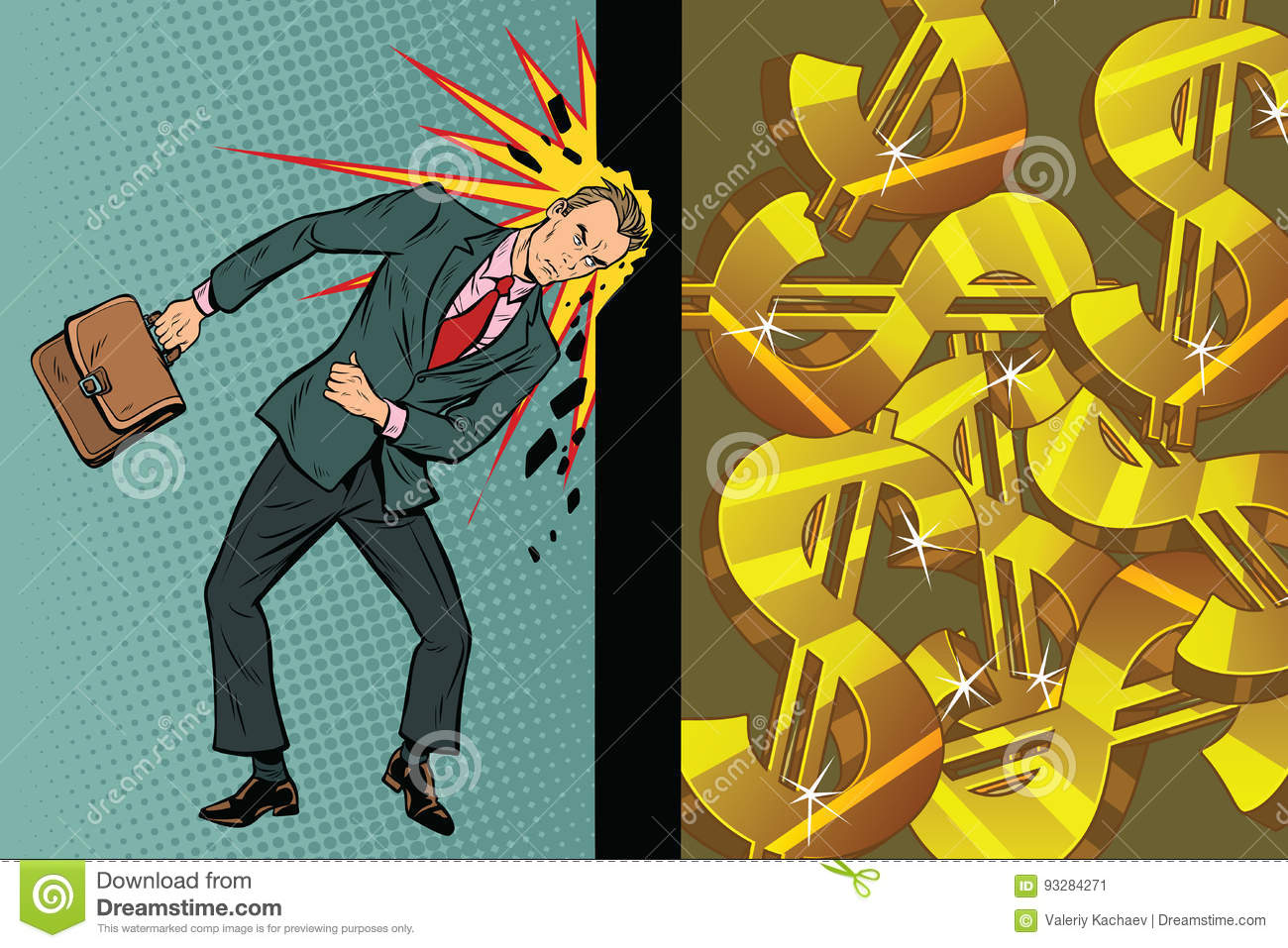 Businessman Breaks The Wall Of His Head, Dollars And Wealth Stock ...