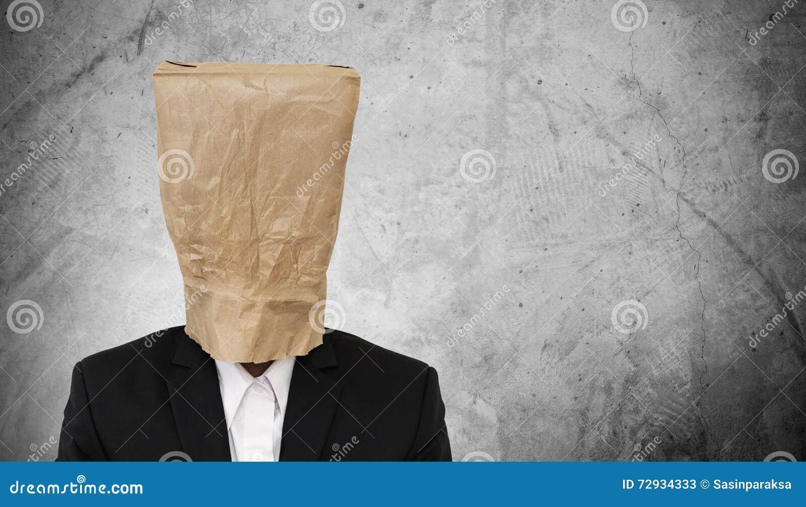 brown paper bag disguise cartoon vector