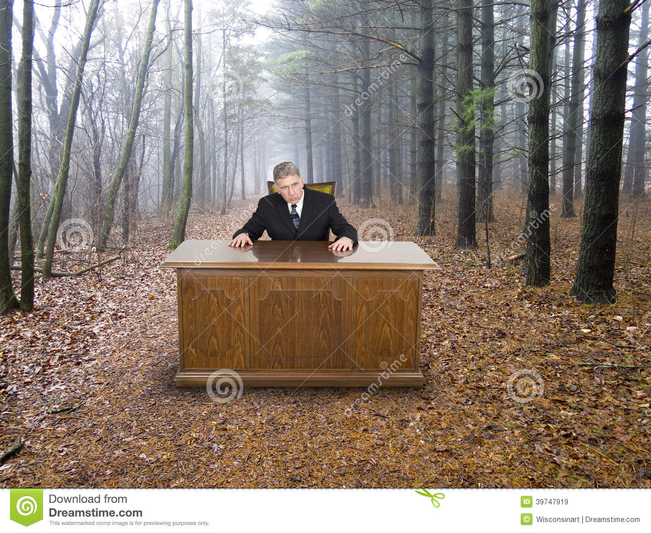 Businessman Business Office In Woods Going Green Stock