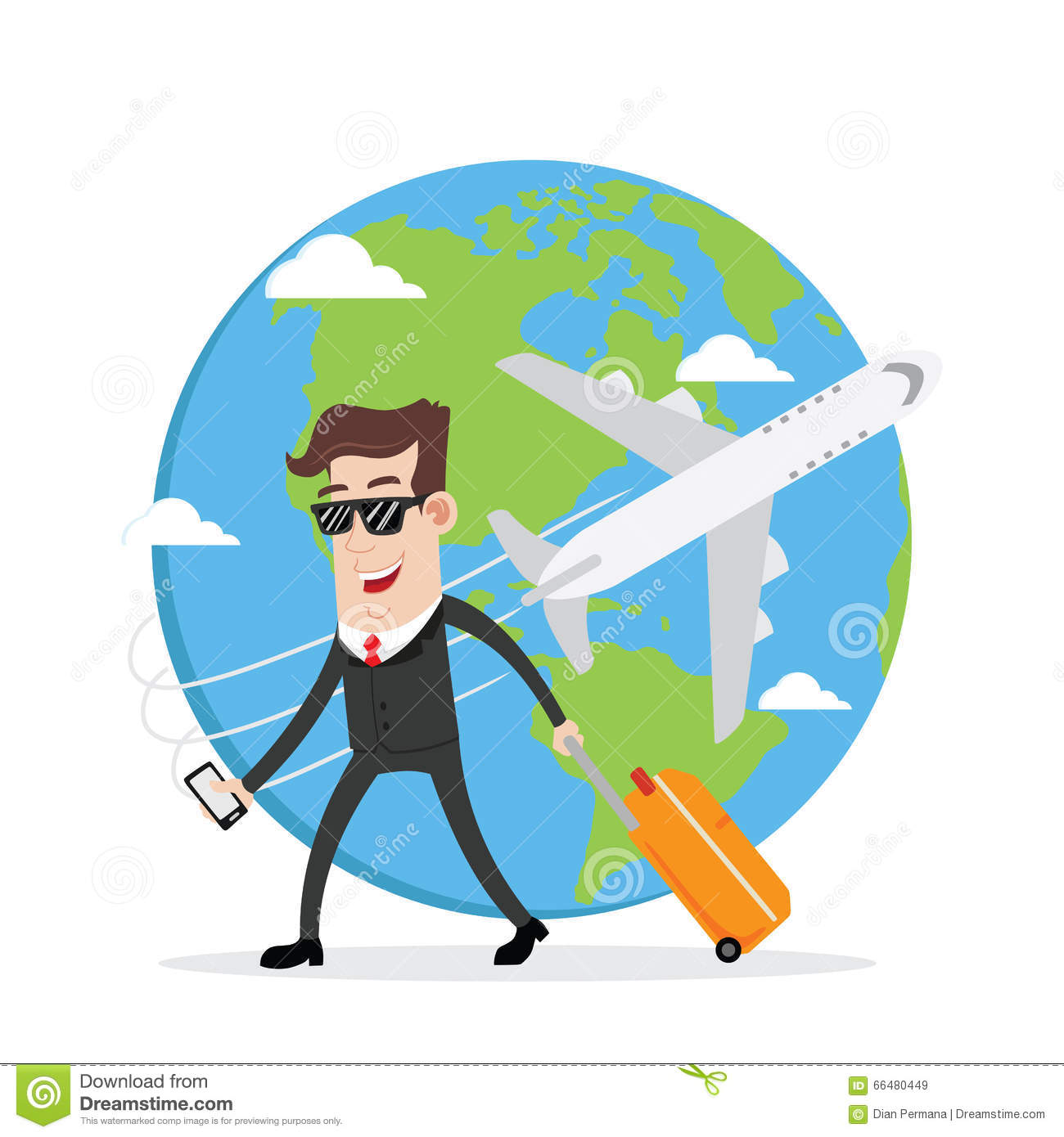 Download Businessman On Business Trip And Travel Around The World Stock Vector