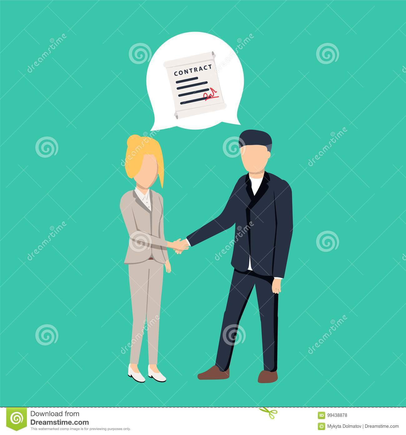 Businessman and businesswoman shaking hand and agree to sign contract after successful business discussion.