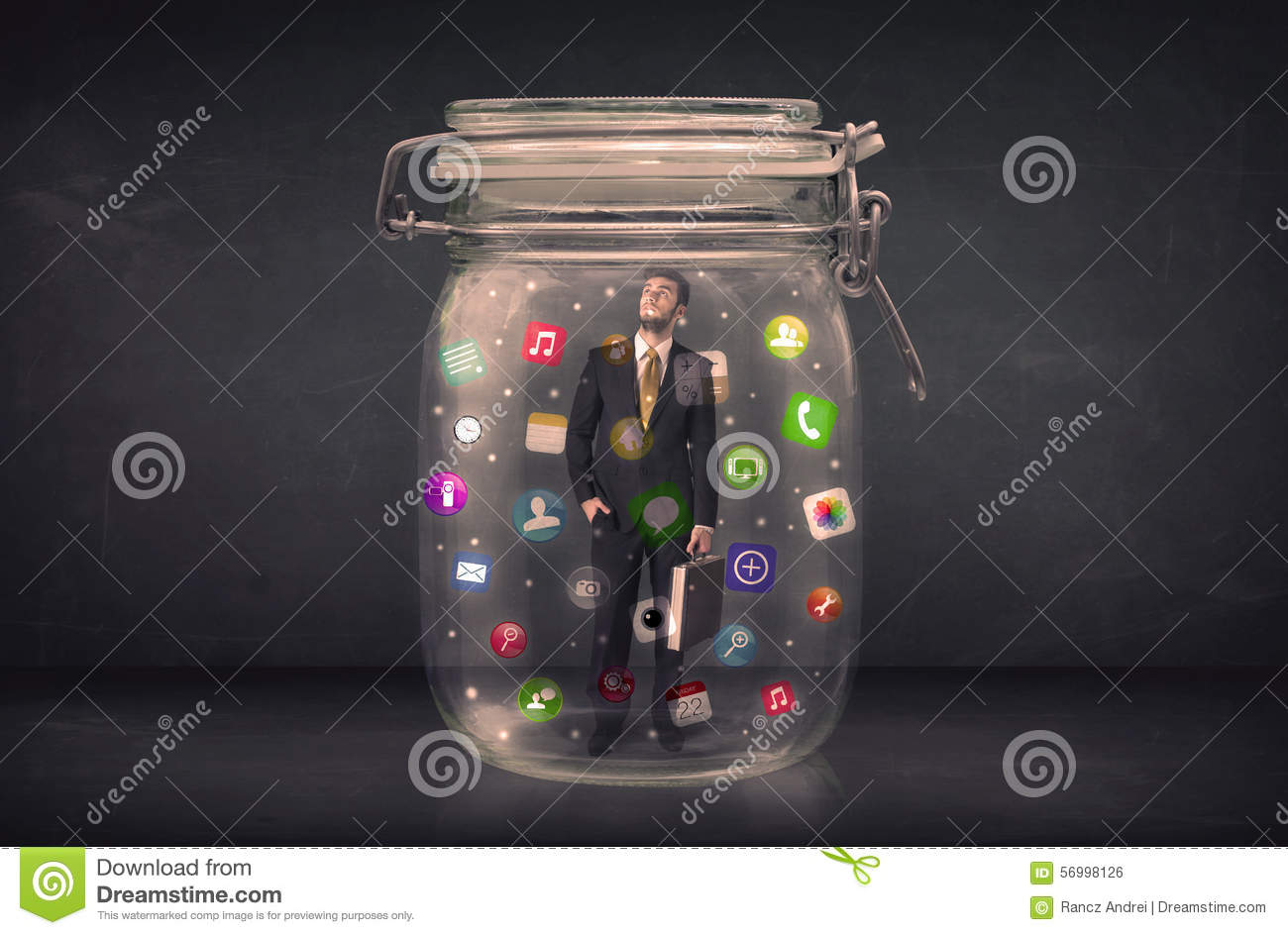 Businessman captured in a glass jar with colourful app icons con