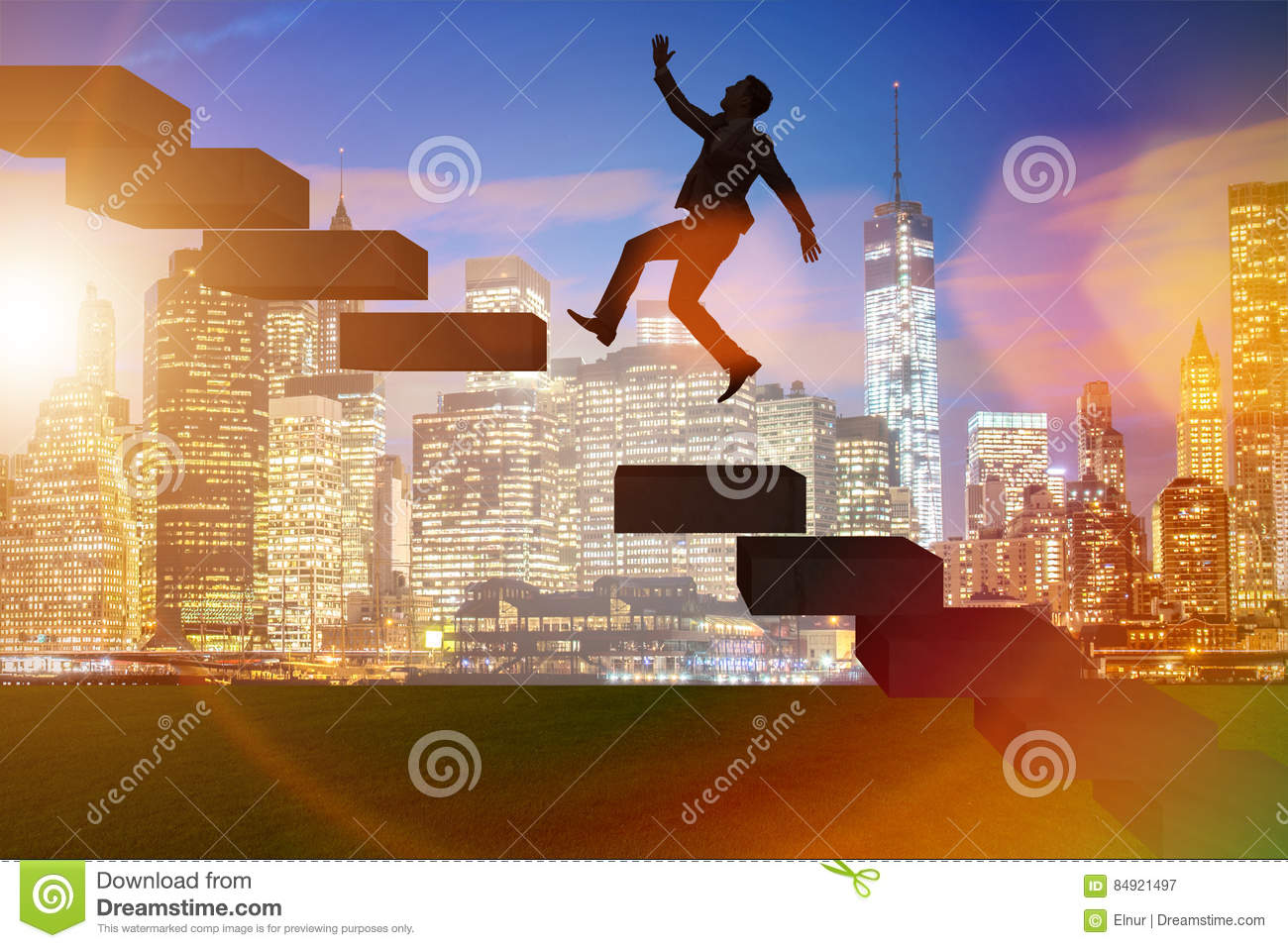 the businessman in career promotion concept stairs stock the businessman in career promotion concept stairs