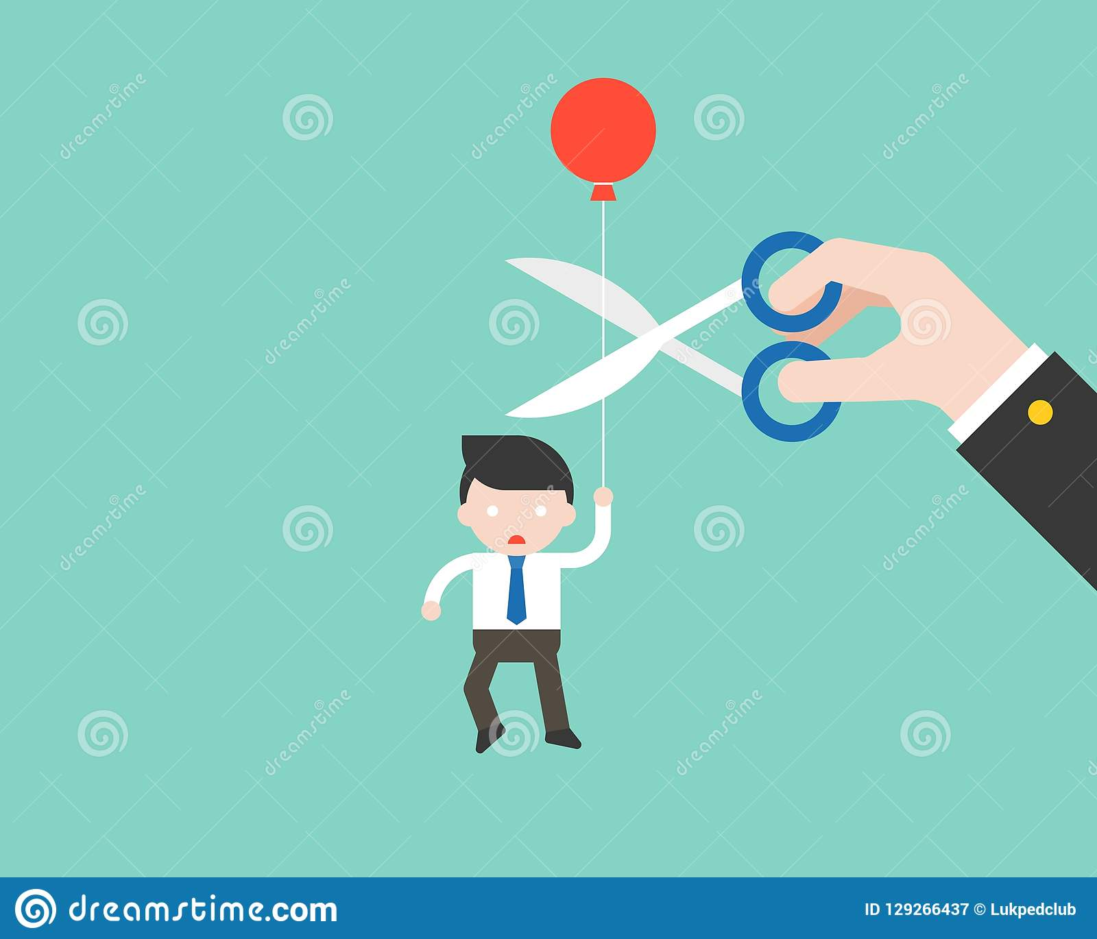 Businessman carrying ballon and paranoid that big hand cut his r