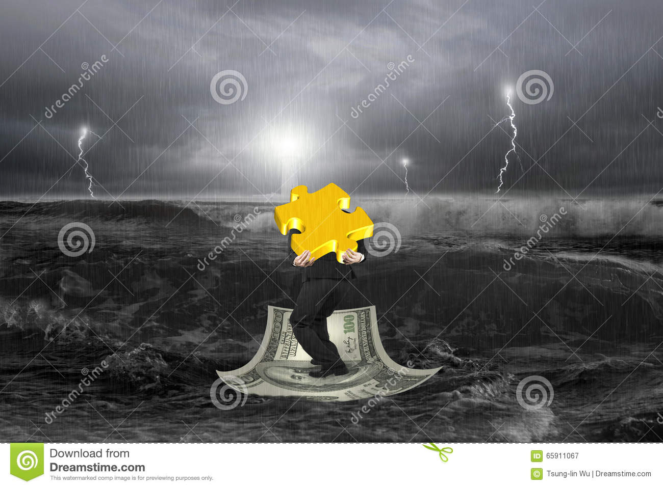 Businessman carrying 3D gold puzzle on money boat with storm
