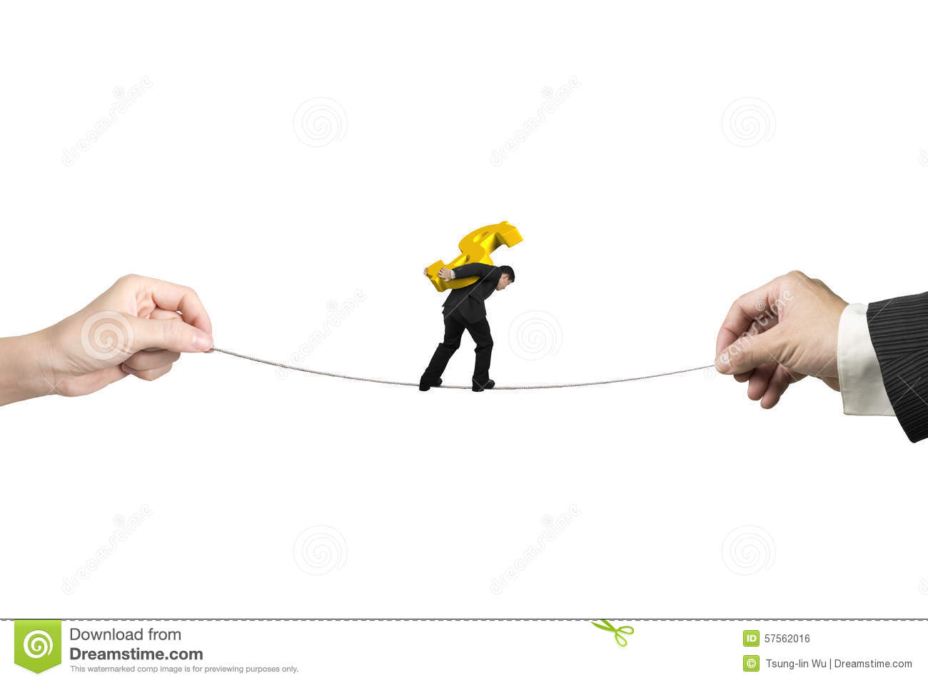 Businessman carrying dollar sign balancing tightrope with hands