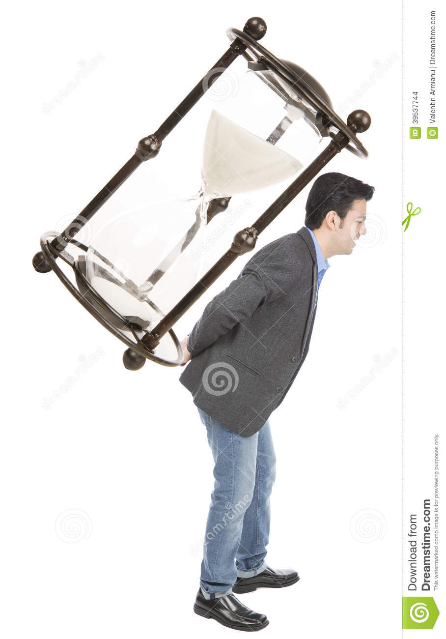 Businessman carrying a hourglas