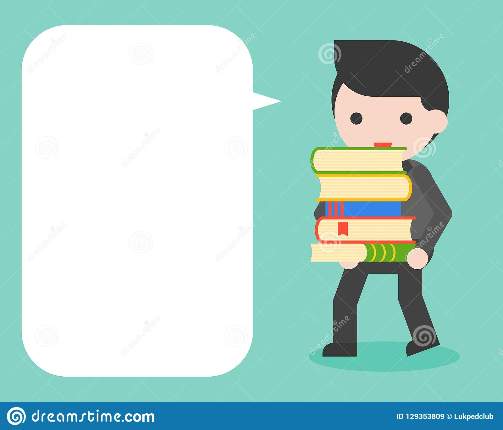 Businessman carrying stack of books and blank speech bubble for