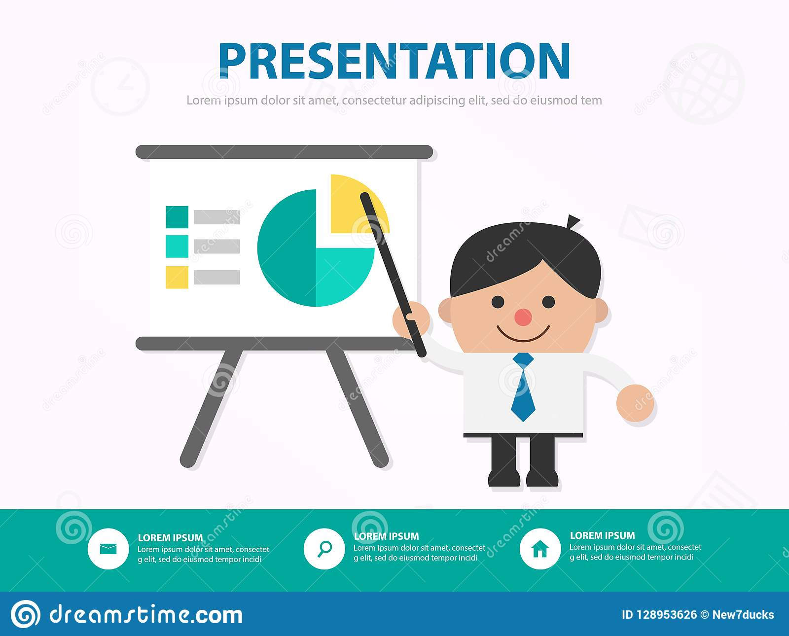 Businessman Cartoon Presentation Meeting Infographic Template De Stock Vector Illustration Of Opportunity Media 128953626