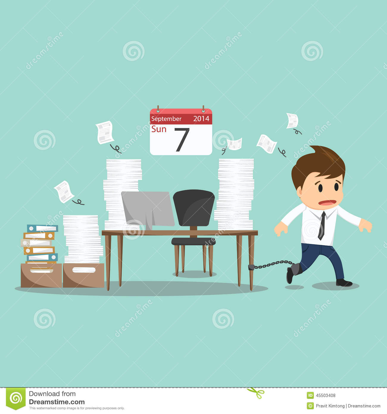 Businessman Chained To The Office Desk On Sunday Vector
