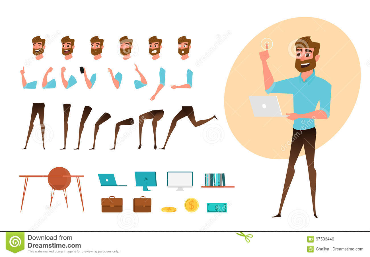 Stocks Download Shivam Creation: Businessman Character Creation Set For Animation. Parts