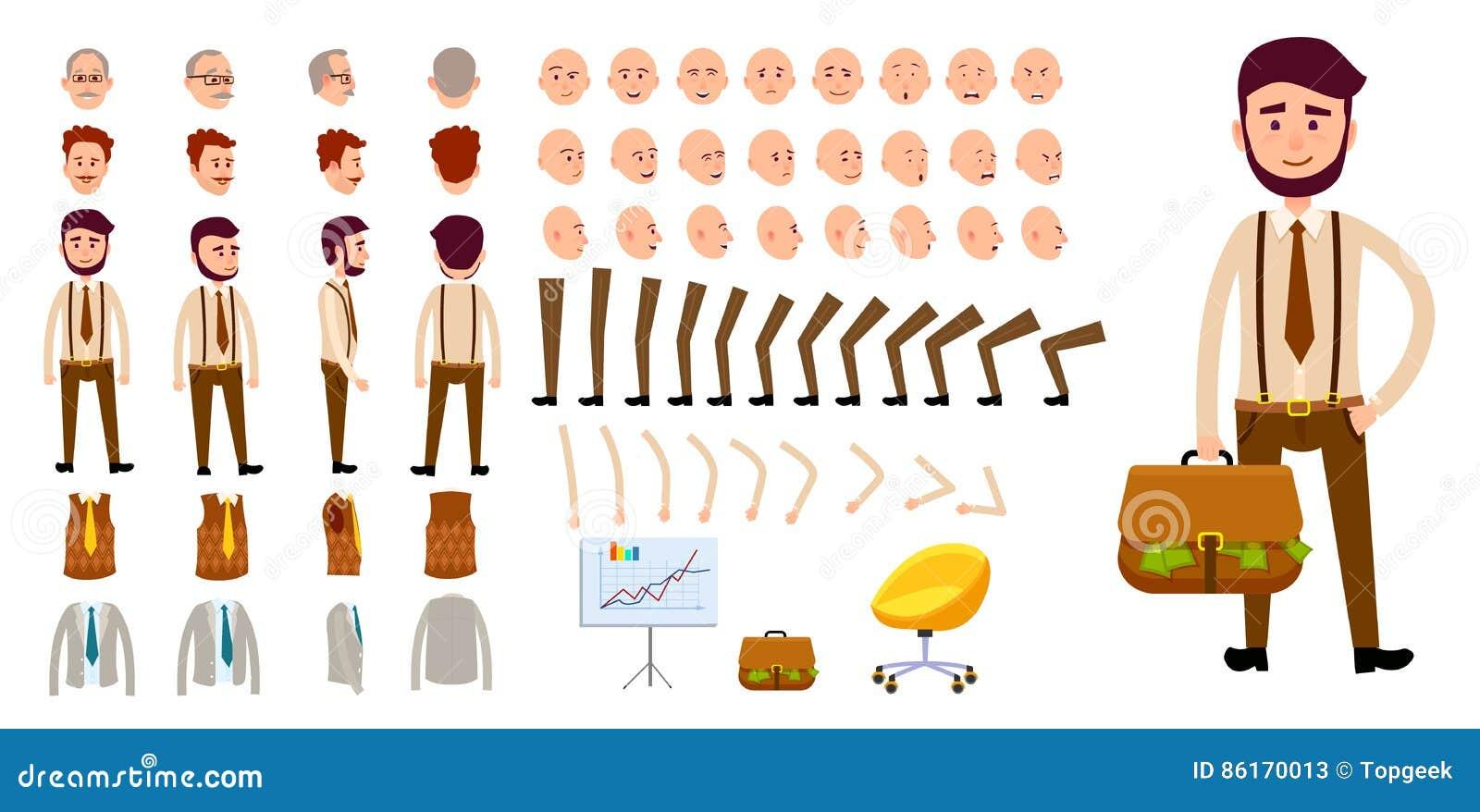 Stocks Download Shivam Creation: Businessman Character Creation Set. Cartoon Design Stock