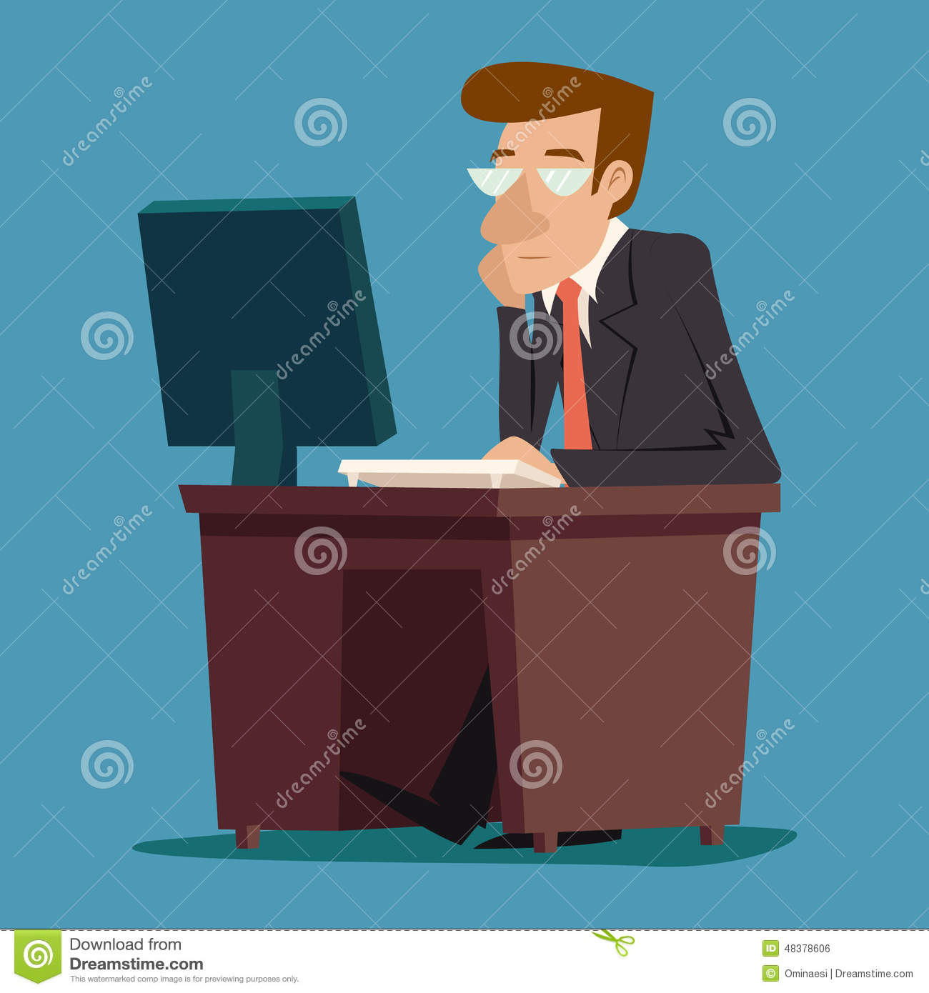 Businessman character at desk working on computer stock