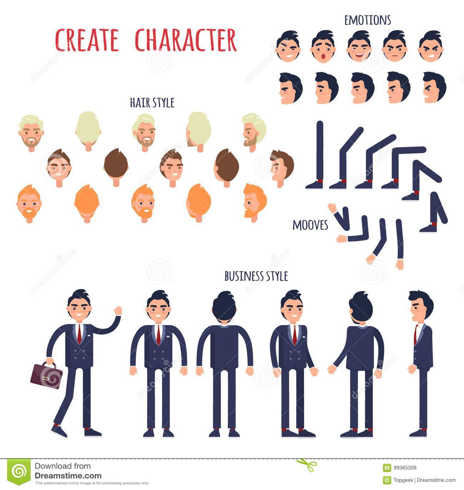 Businessman Character Generator Flat Vector Stock Vector