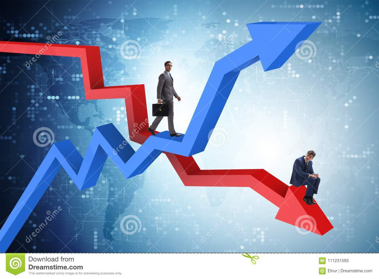The businessman with charts of growth and decline