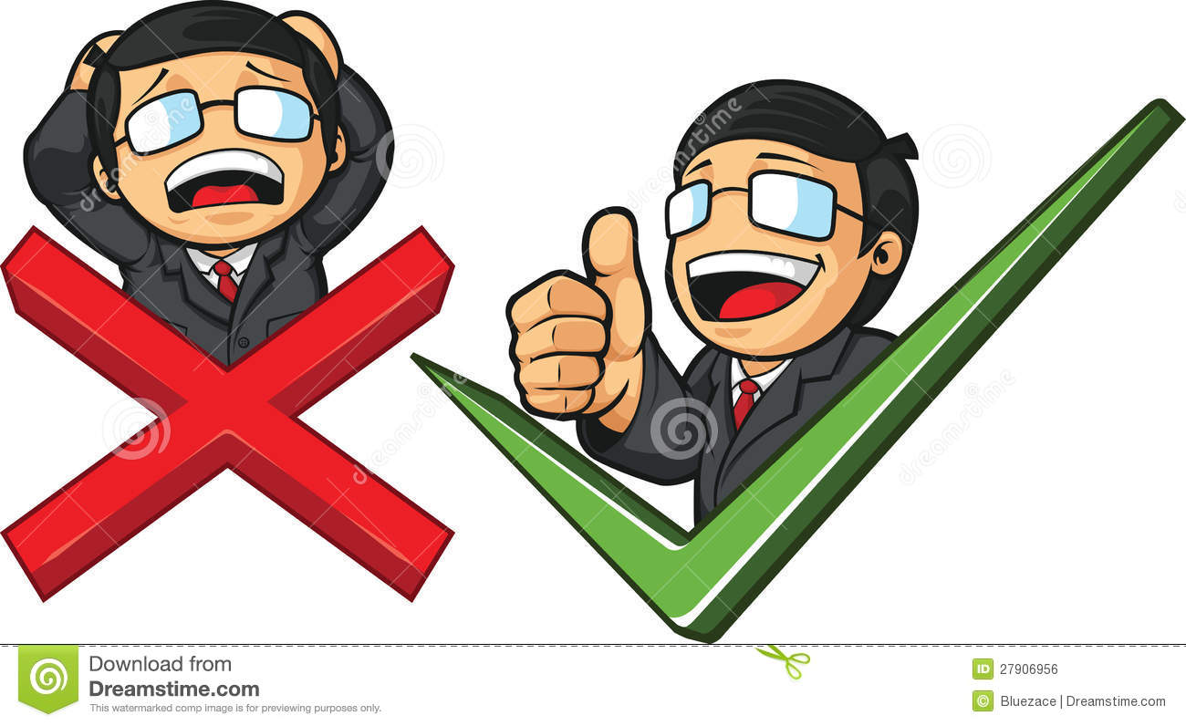 businessman with check mark cross illustration 27906956 megapixl