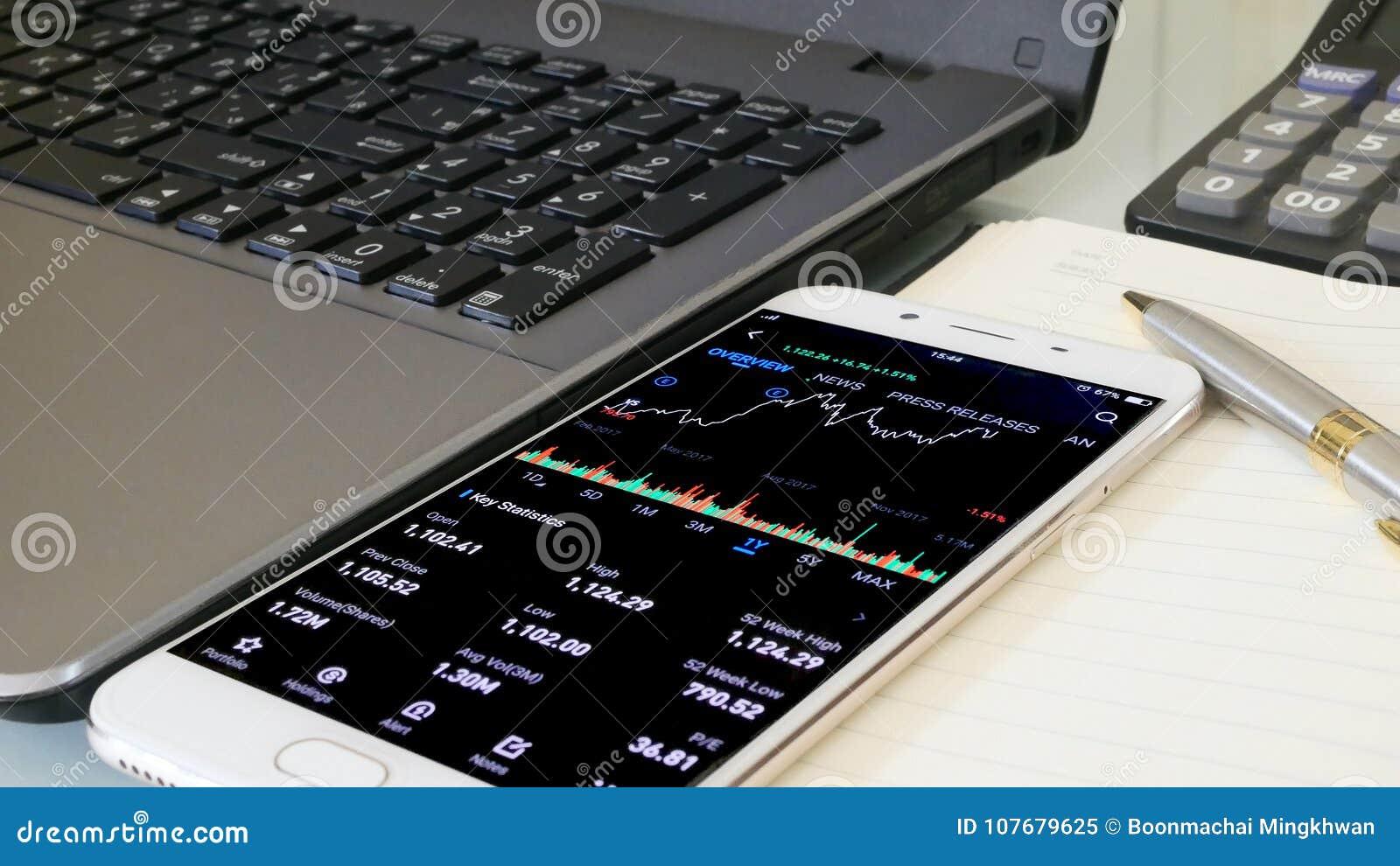 Businessman checking stock market dataมStock Market Application for Mobile, Analyzing Data Stock Market on Mobile Young