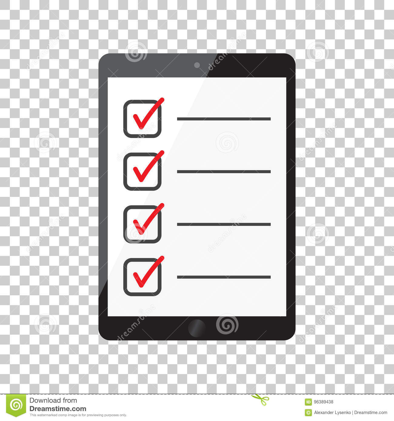 Businessman checklist with tablet. Check list icon flat vector i