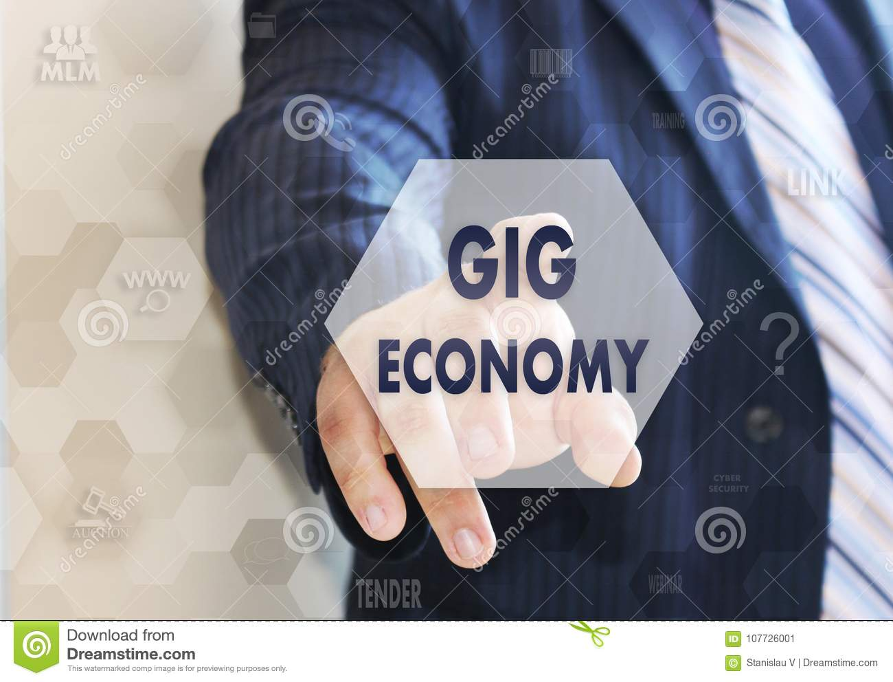 The businessman chooses the GIG ECONOMY on the touch screen
