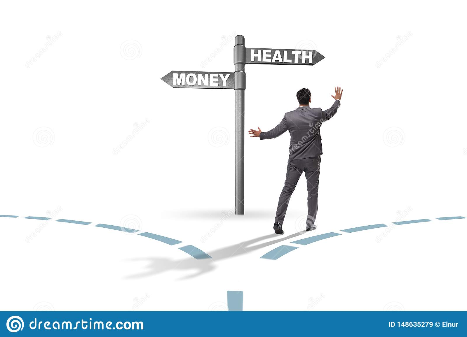 Businessman choosing between money and health