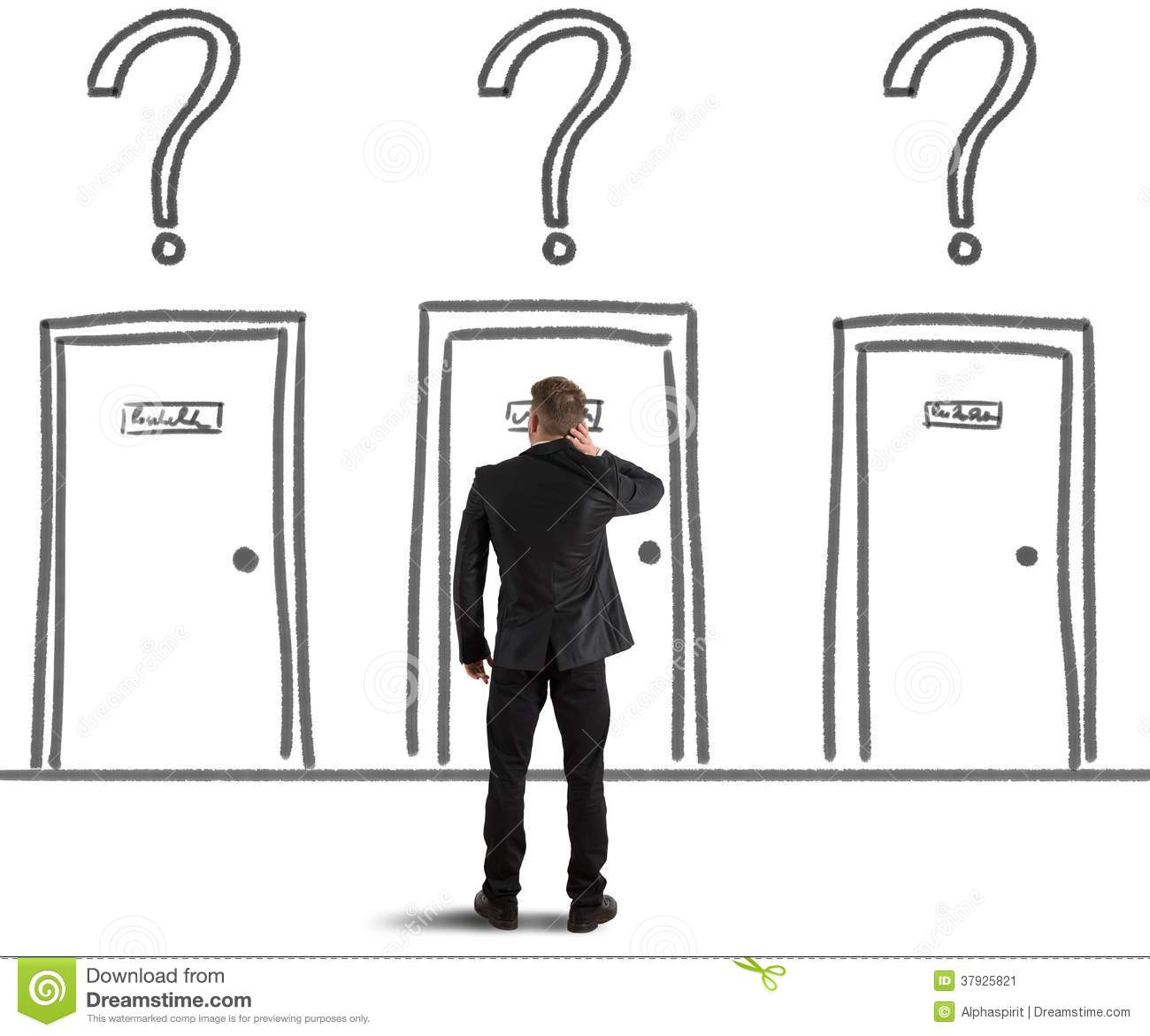 Businessman choosing the right door  sc 1 st  Dreamstime.com & Businessman Choosing The Right Door Stock Image - Image of business ...