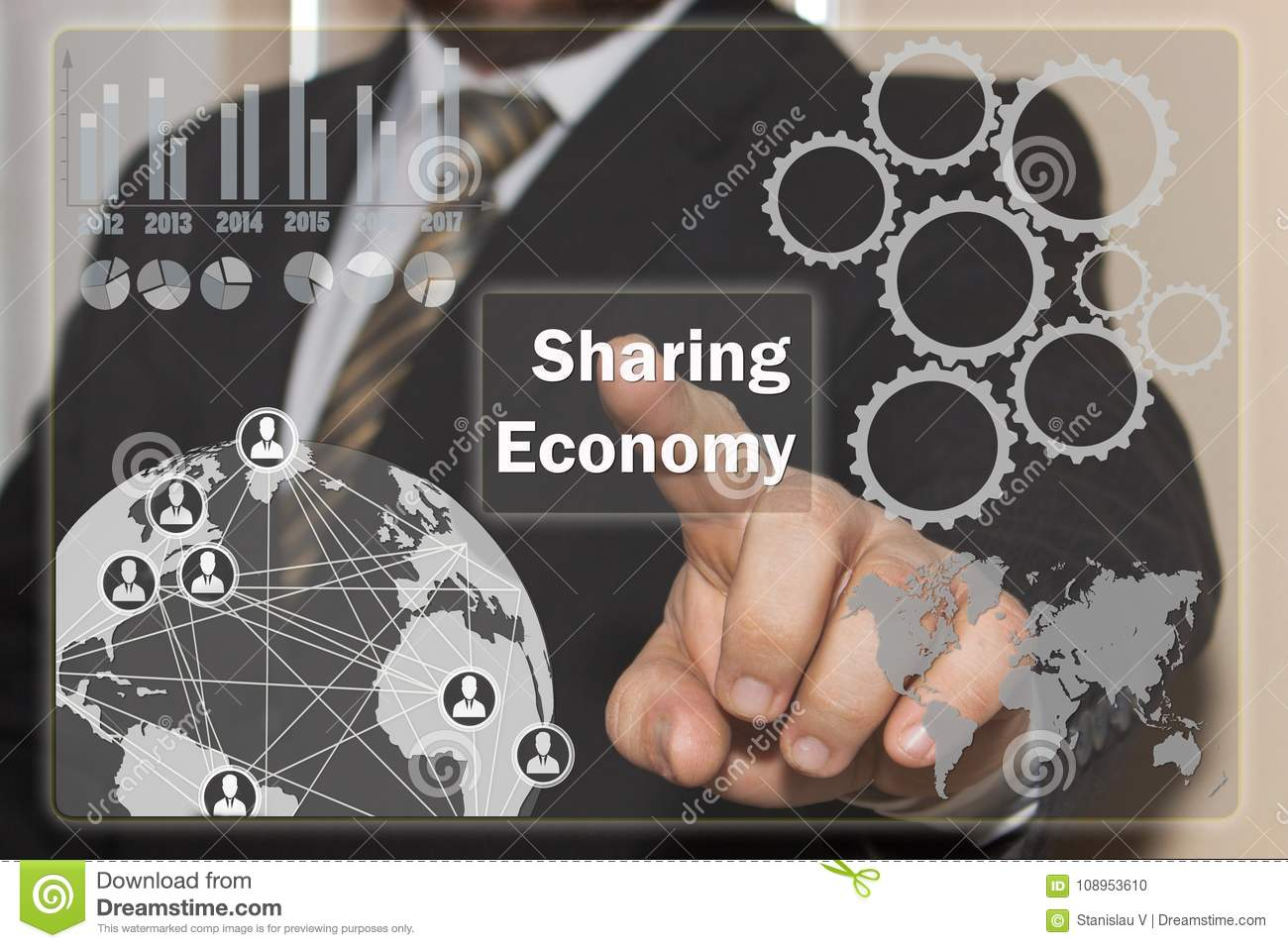 The businessman clicks on the Sharing Economy on the touch scree