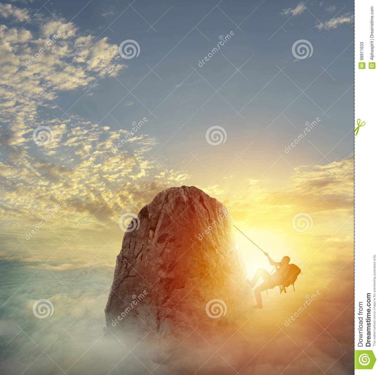 Download Businessman Climb A Mountain To Get The Flag. Achievement Business Goal And Difficult Career Concept Stock Image - Image of high, climbing: 98911633