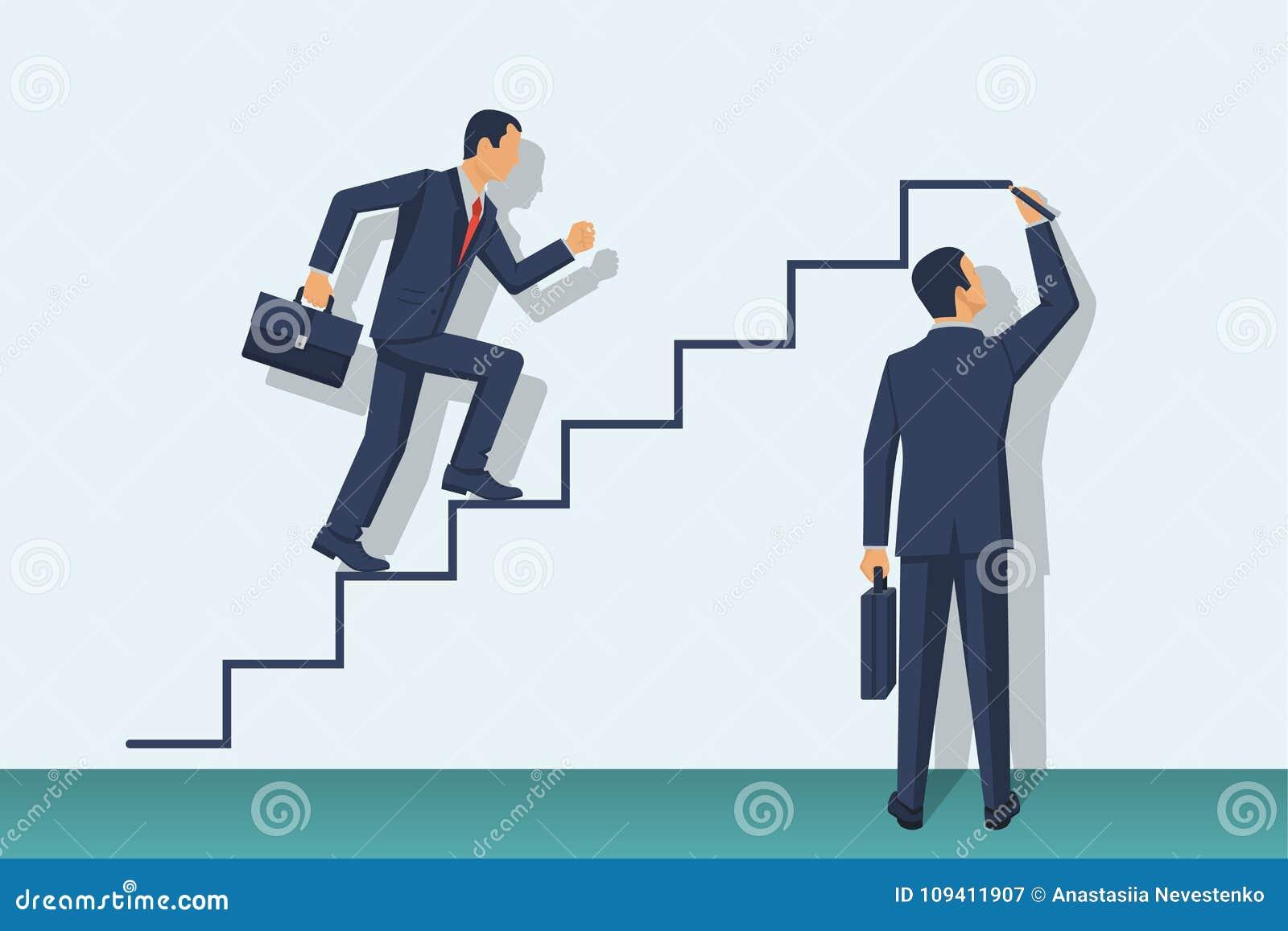 Climbing career ladder, road to chosen goal, flat de - color vector clipart