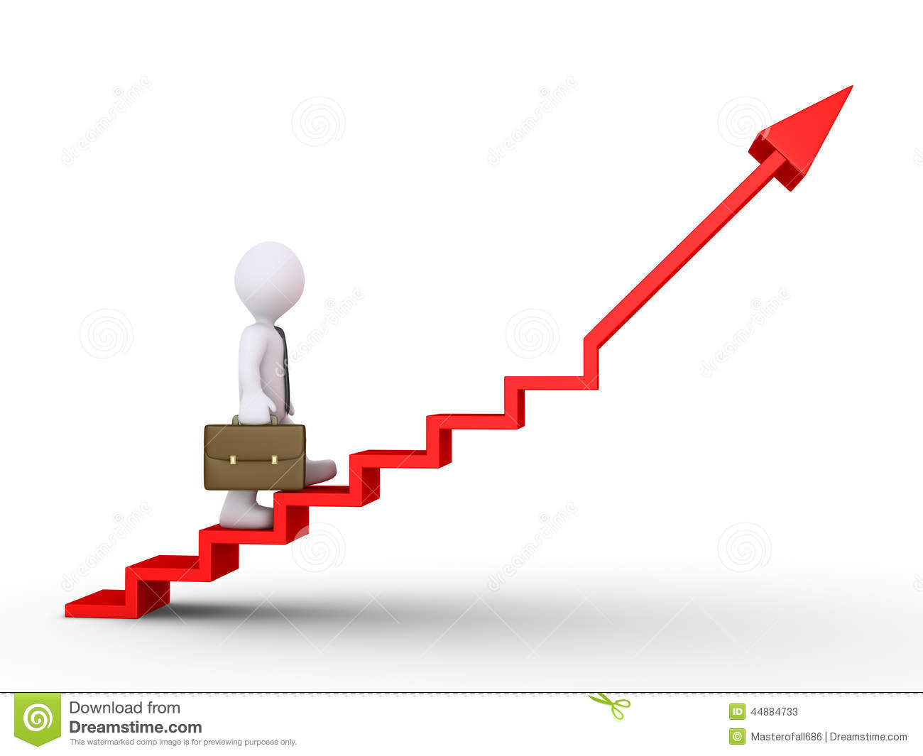 3d businessman is climbing a graphic chart with stairs.
