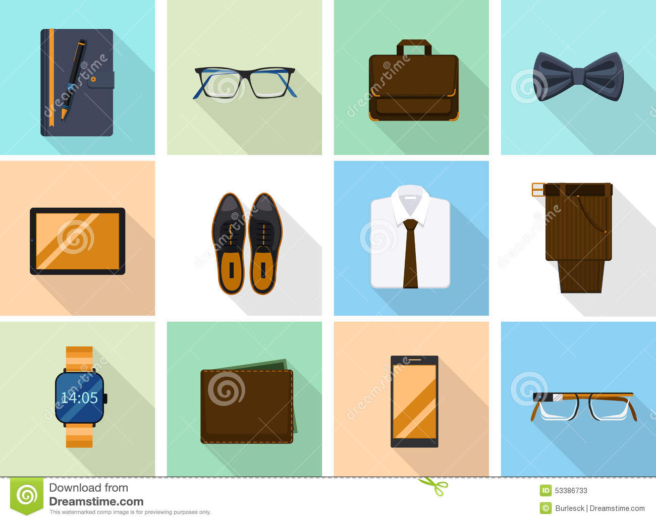 Businessman Clothes And Gadgets Icons In Flat Stock Vector Image 53386733