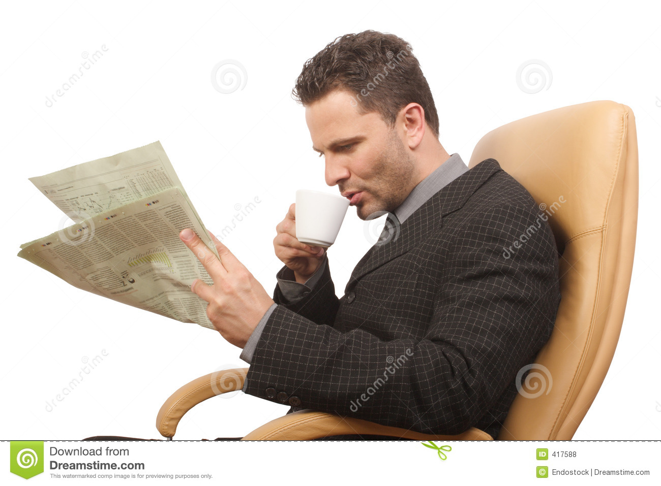 Businessman Coffee Newspaper Royalty Free Stock Photos
