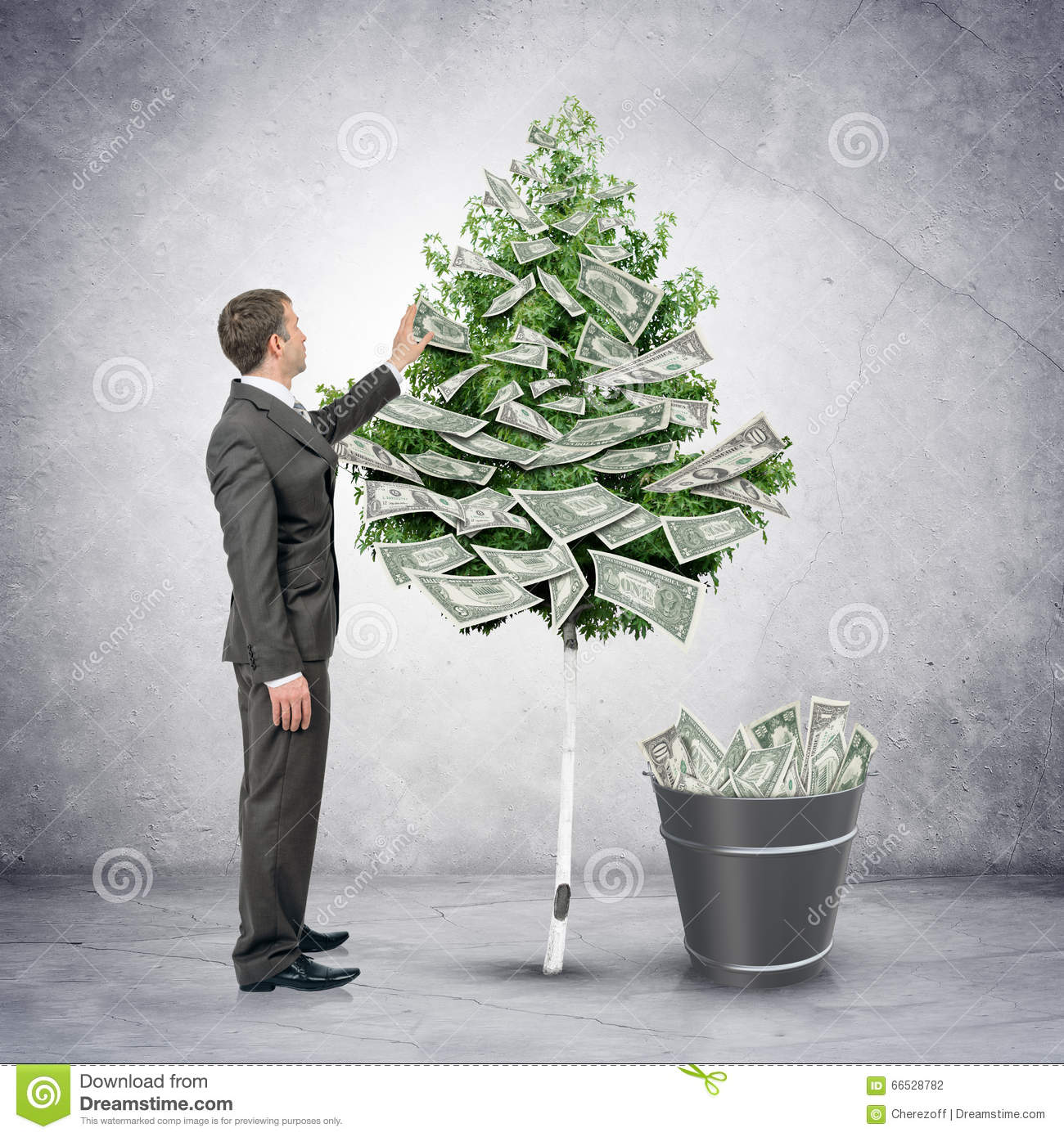 businessman collecting money from tree stock photo image of