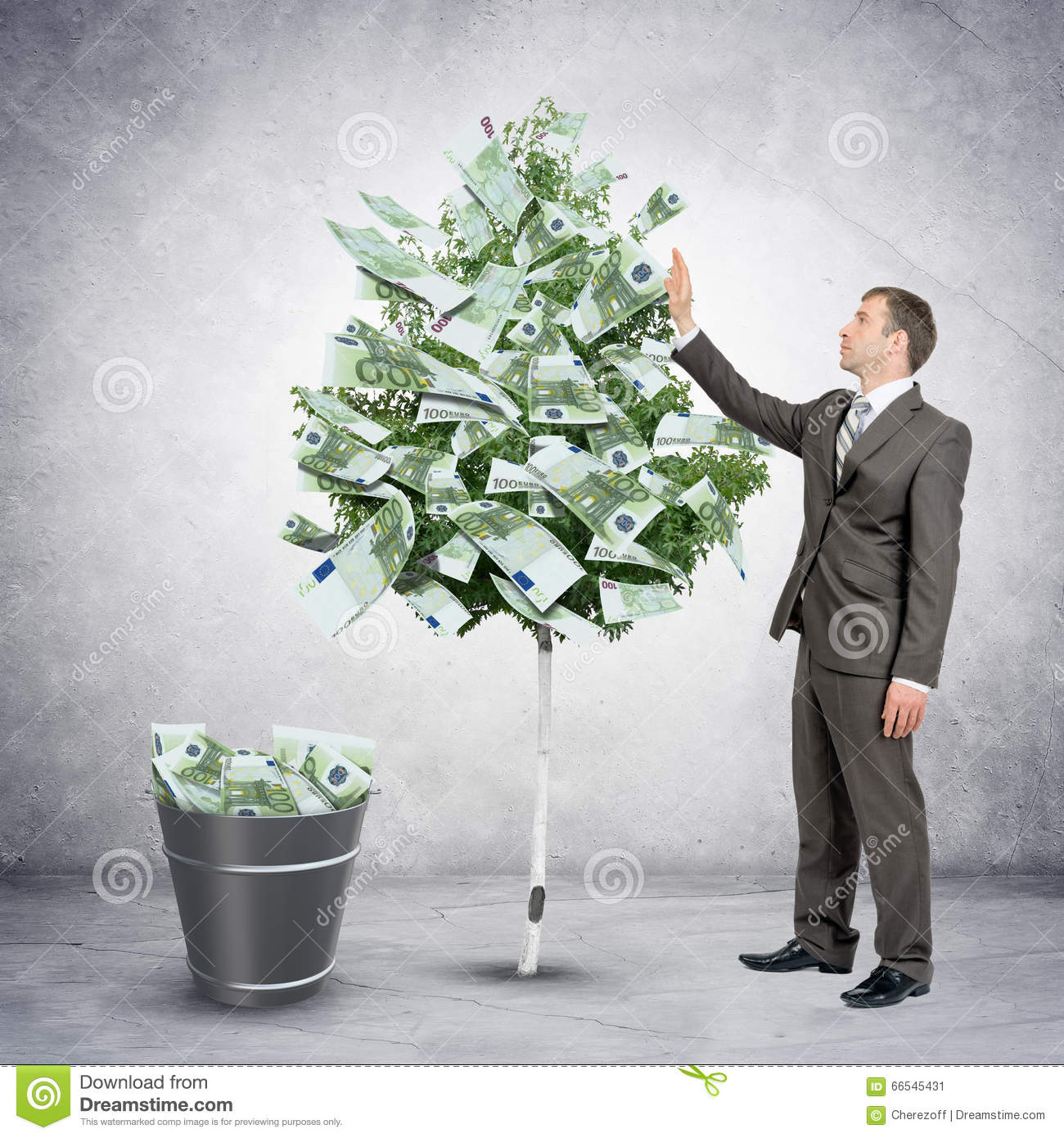 businessman collecting money from tree stock image image of