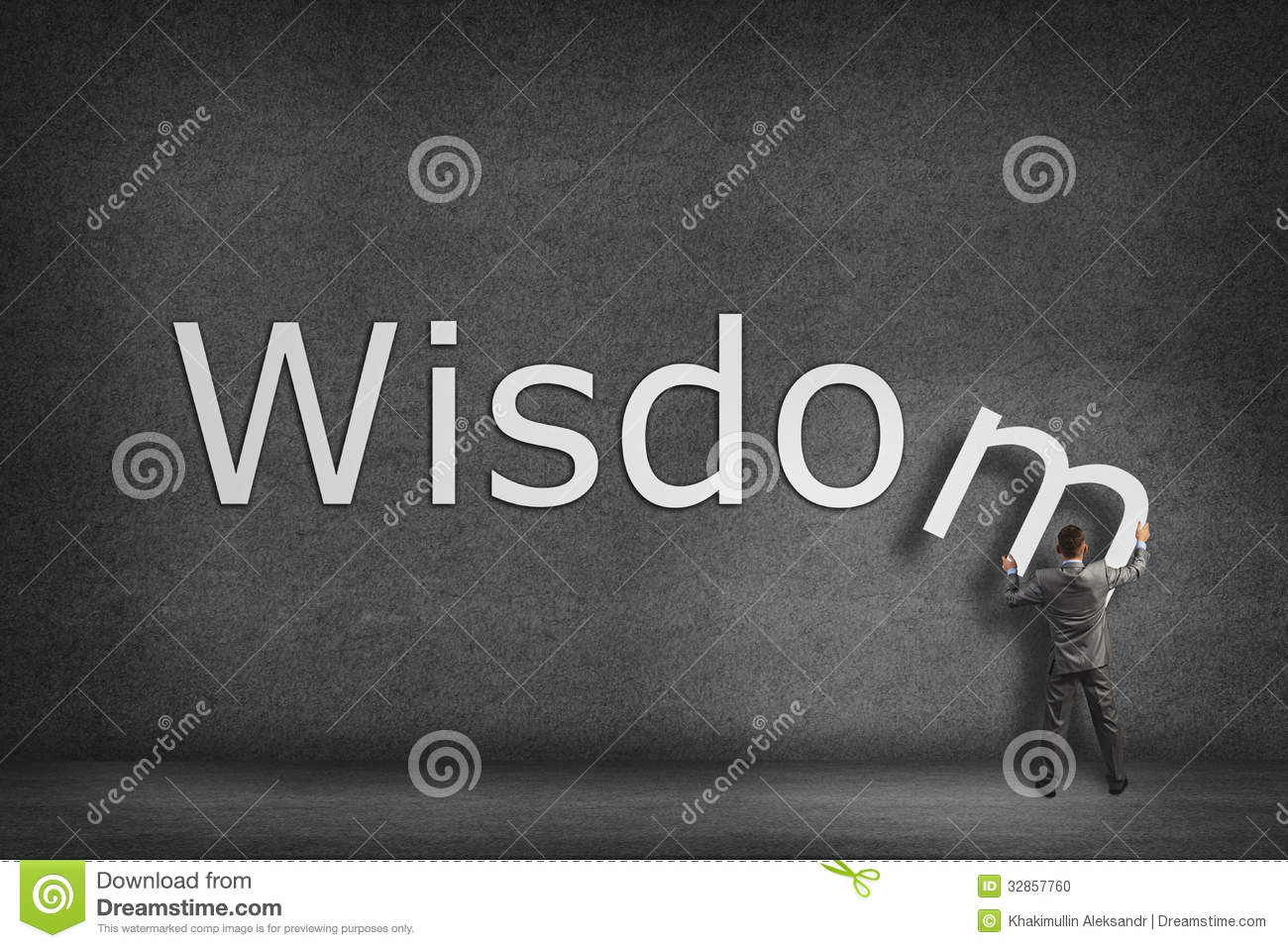 Businessman Collects On The Wall The Word Wisdom