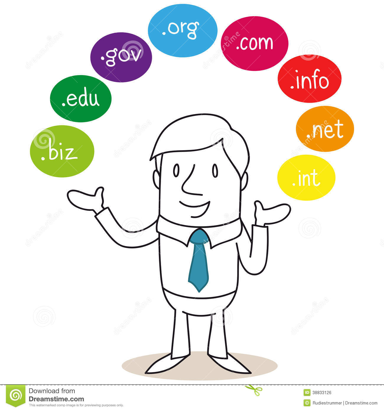 Businessman With Colorful Domain Names Stock Vector
