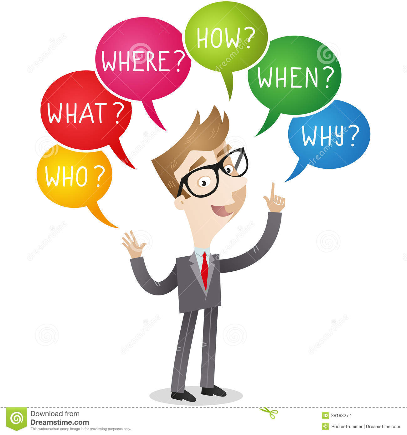 Businessman with colorful speech bubbles, words