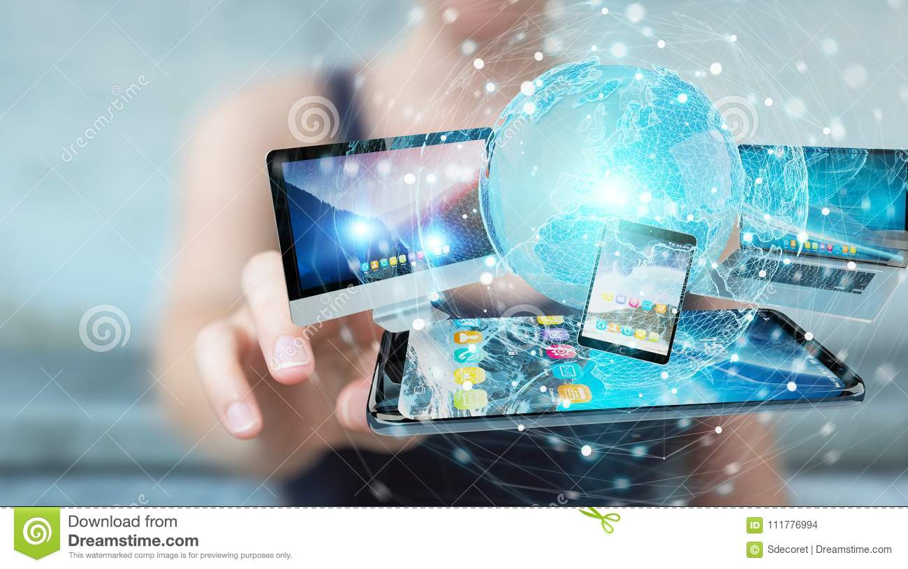 Businessman connecting tech devices and icons applications 3D re