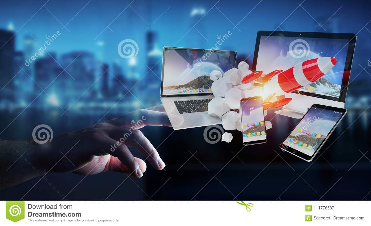 Businessman connecting tech devices and startup rocket 3D render