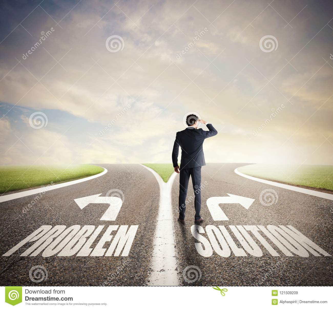 businessman at a crossroads he chooses the correct way concept of