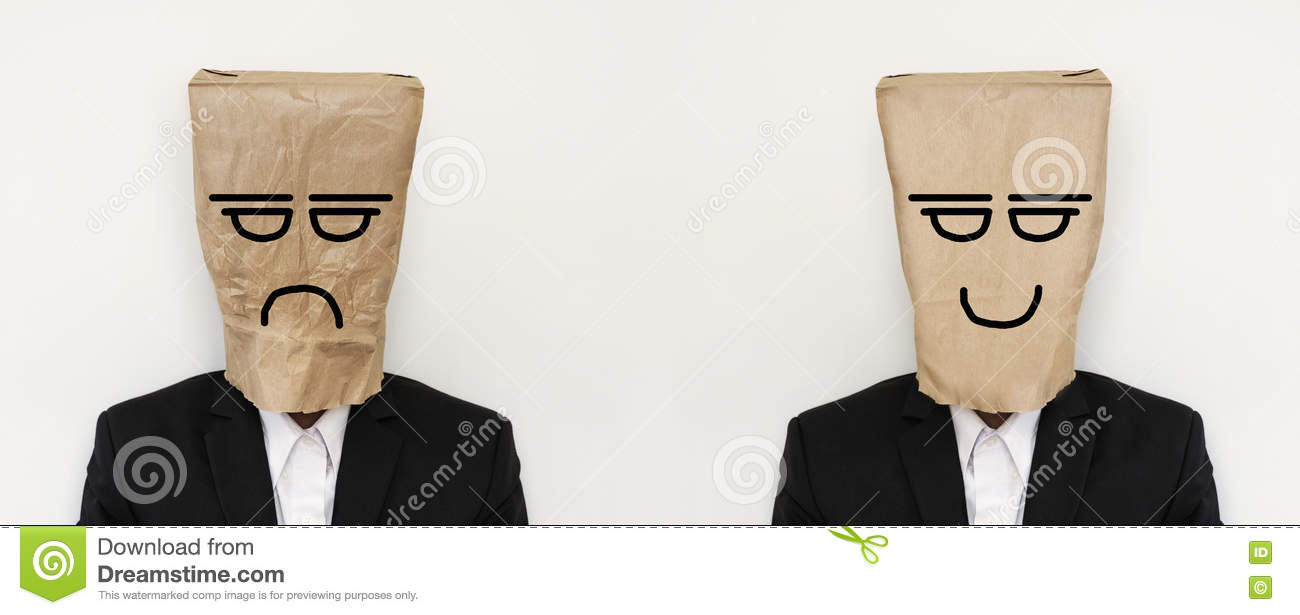 Businessman with crumpled paper bag with anger bored face, and smooth paper bag with smiling face