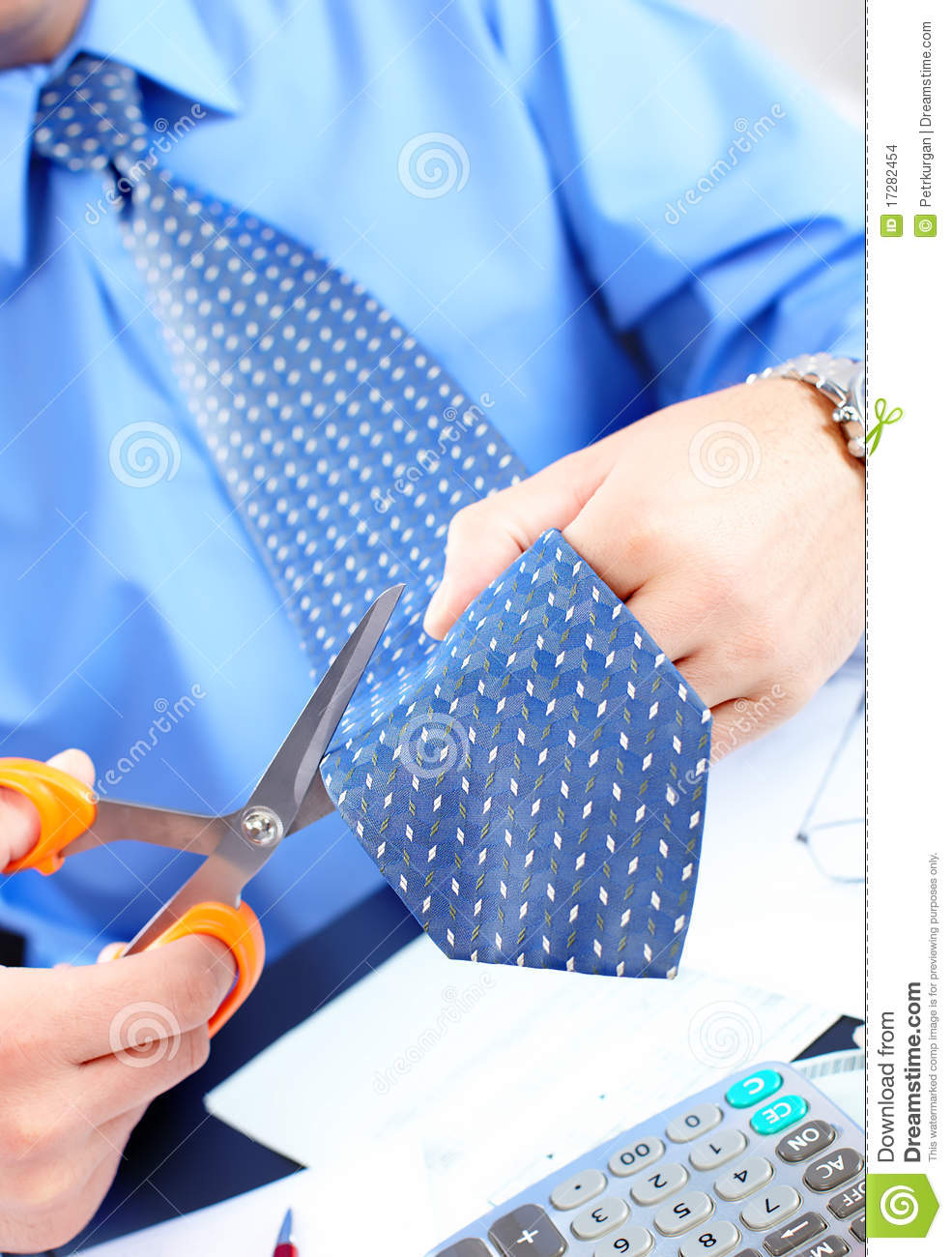 businessman cutting the tie stock images image 17282454