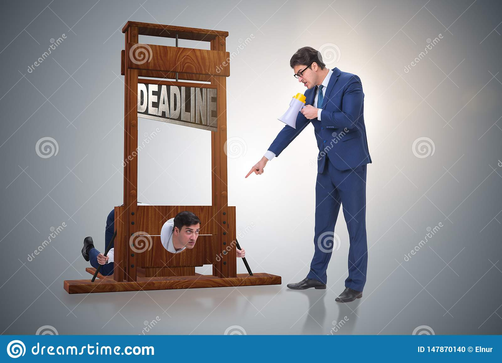 The businessman in deadline concept with guillotine
