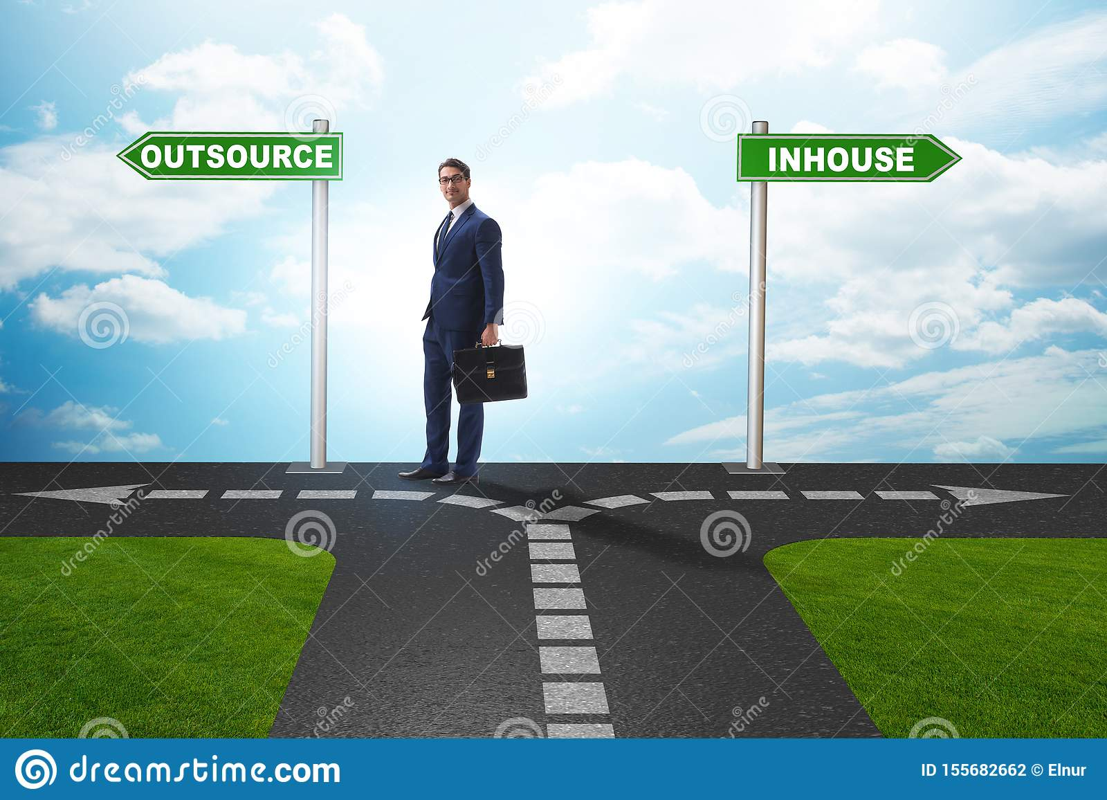 Businessman deciding between outsourcing and inhouse